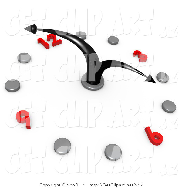 3d Clip Art of a White Office Wall Clock with Bending Black Hands Pointing at 4pm, Silver Hour Dots and Red Numbers