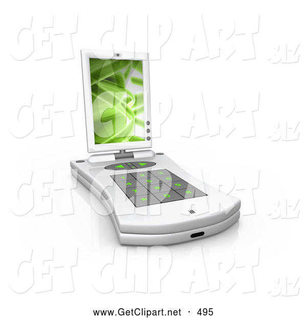 3d Clip Art of a White Pda Computer with a Small Keyboard and a Green Screen Saver over White