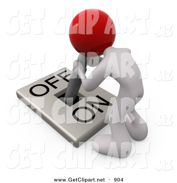3d Clip Art of a White Person with a Red Head Attached to an On/off Switch Lever, Crouching over and Struggling to Turn the Switch Off, on White