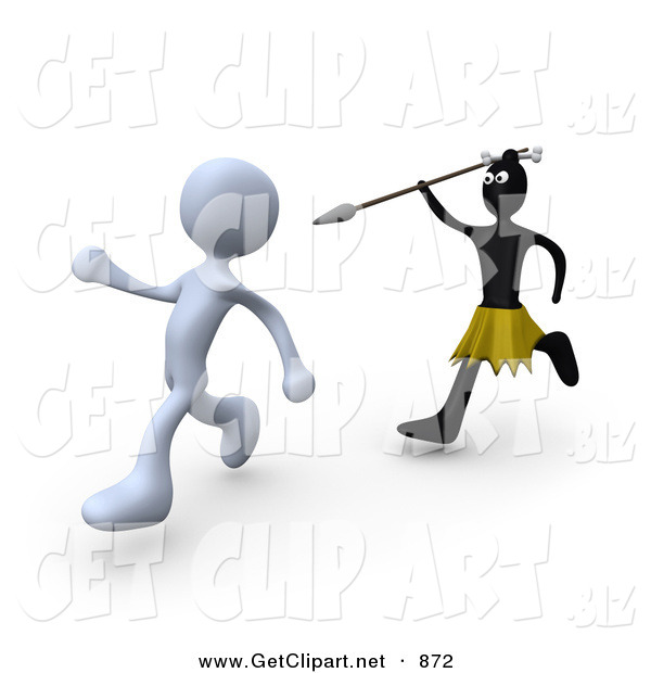 3d Clip Art of a White Zulu Native Running with a Spear and Trying to Kill a White Person
