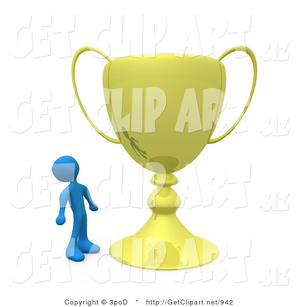 3d Clip Art of a Winning Blue Athlete Person Staring Upwards in Awe at His Oversized Gold Trophy Cup