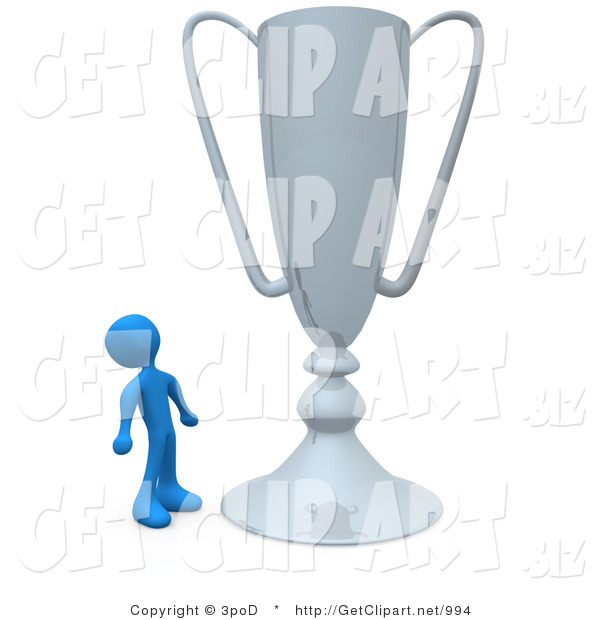 3d Clip Art of a Winning Blue Athlete Person Staring Upwards in Awe at His Oversized Silver Trophy Cup