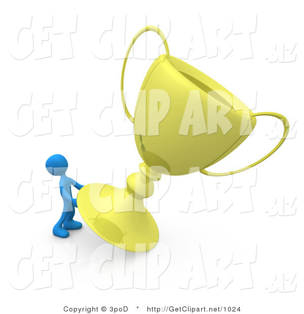 3d Clip Art of a Winning Blue Athletic Person Trying to Move His Giant Gold Trophy Cup