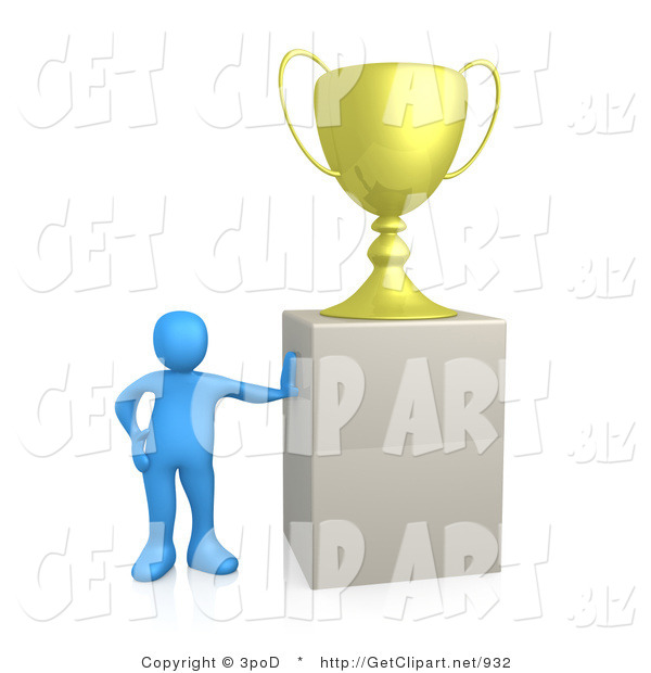 3d Clip Art of a Winning Blue Athletletic Person Leaning Against a Podium on Which His Oversized Trophy Cup Rests