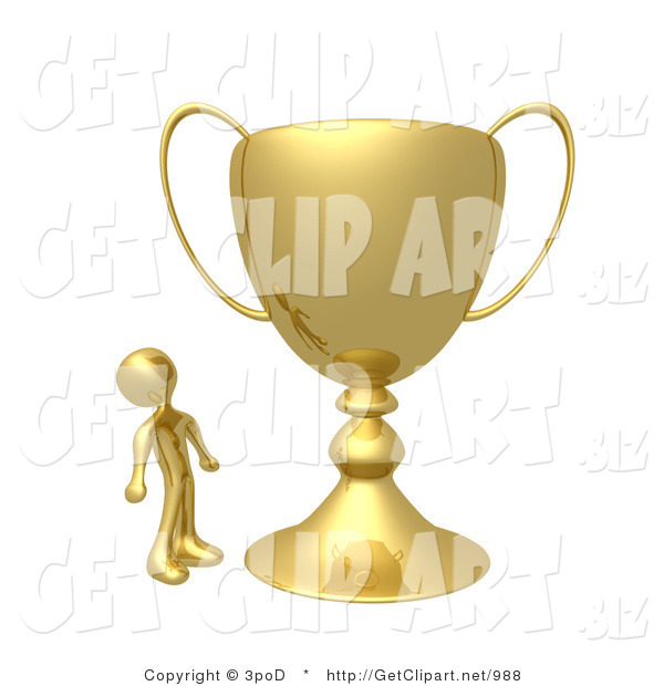 3d Clip Art of a Winning Golden Athlete Person Staring Upwards in Awe at His Oversized Trophy Cup