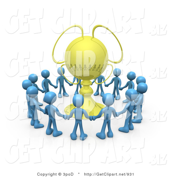 3d Clip Art of a Winning Team of Blue Mascot Figures Holding Hands and Standing in a Circle Around Their Golden Championship Trophy