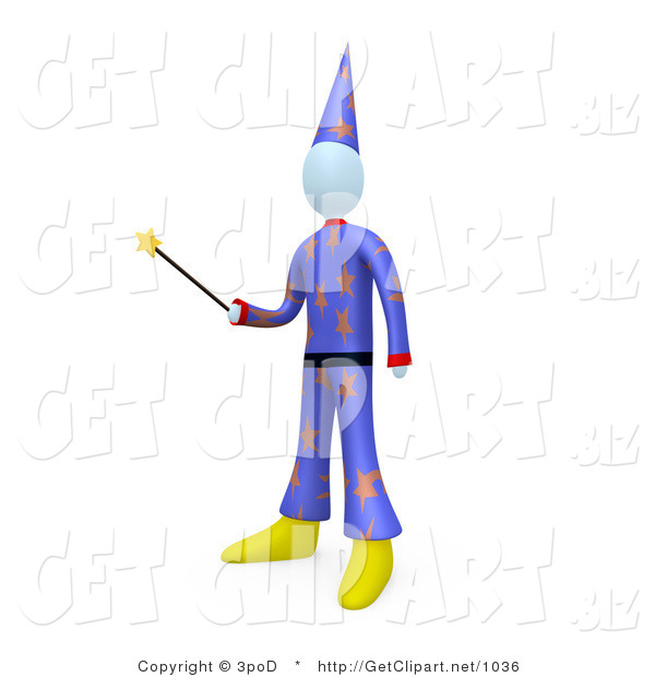 3d Clip Art of a Wizard or Warlock Man Wearing a Purple Hat and Clothes with Star Patterns, Holding a Magic Wand and Preparing to Cast a Spell or Perform a Magic Trick