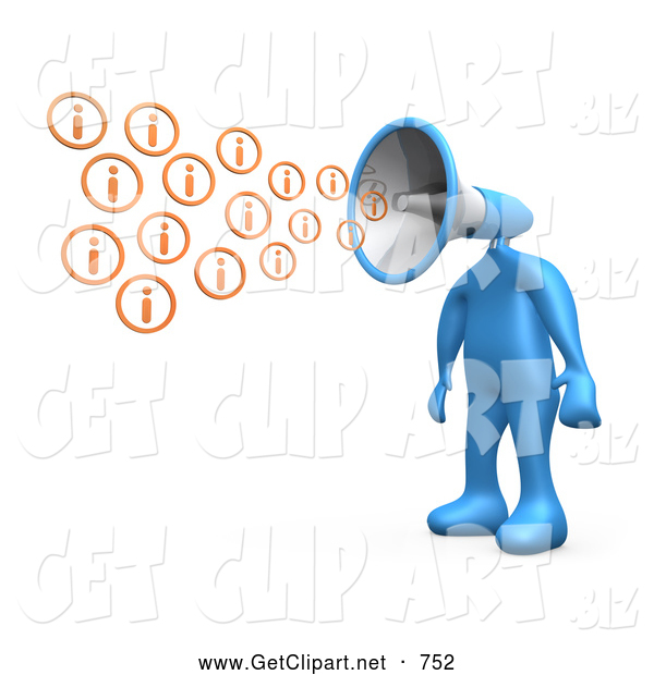 3d Clip Art of a Yelling Blue Person with a Megaphone Head, Blowing out Information Icons