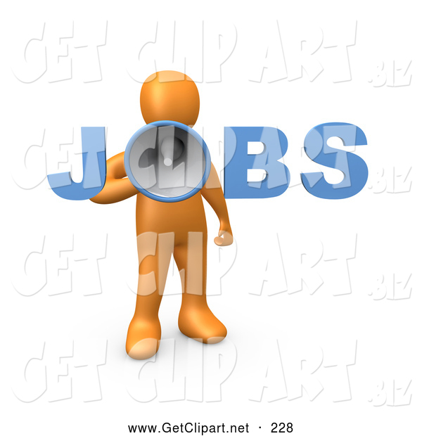 3d Clip Art of a Yelling Orange Person Speaking Through a Megaphone with the Word Jobs, Recruiting People for Occupations