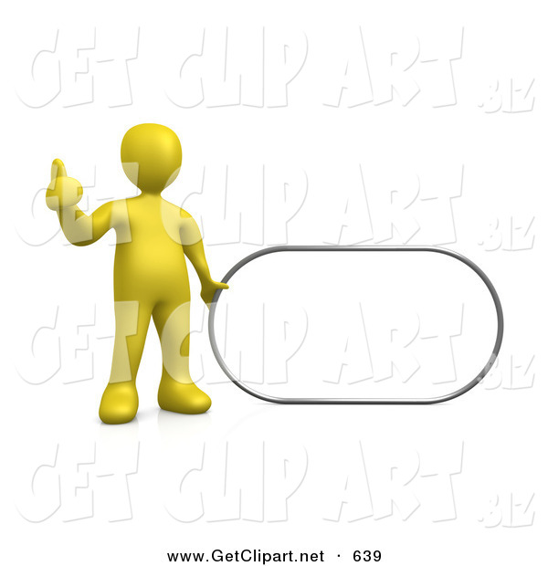 3d Clip Art of a Yellow Figure Giving the Thumbs up While Standing by a Blank White Sign Which Is Ready for an Advertisement