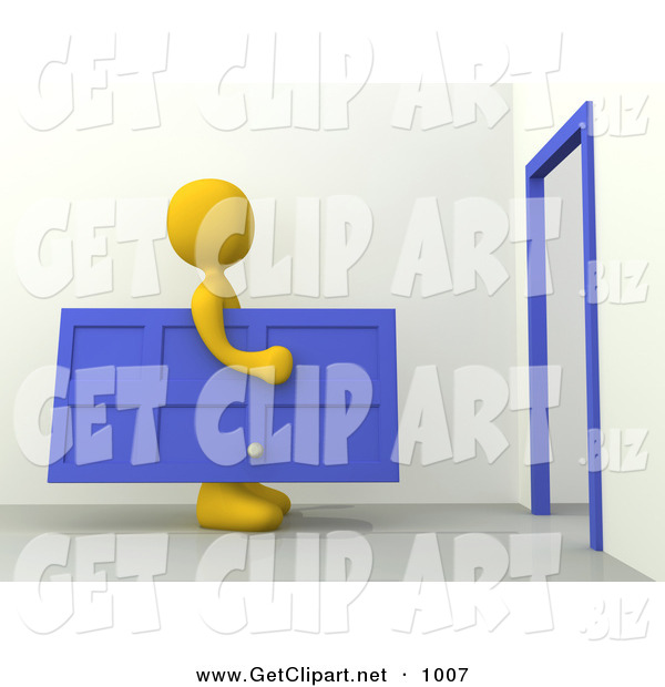 3d Clip Art of a Yellow Figure Man Carrying a Blue Door Towards a Door Frame, Symbolizing Moving or Home Repairs