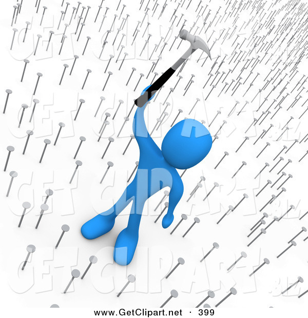 3d Clip Art of an Egotistical and Mean Blue Man Holding a Hammer up Above Nails That Symbolize Innocent Employees