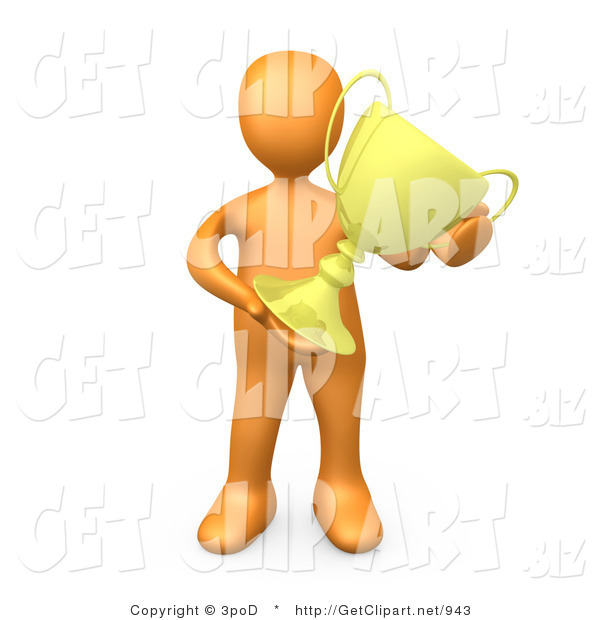 3d Clip Art of an Orange Athletic Person Proudly Holding His Gold Trophy