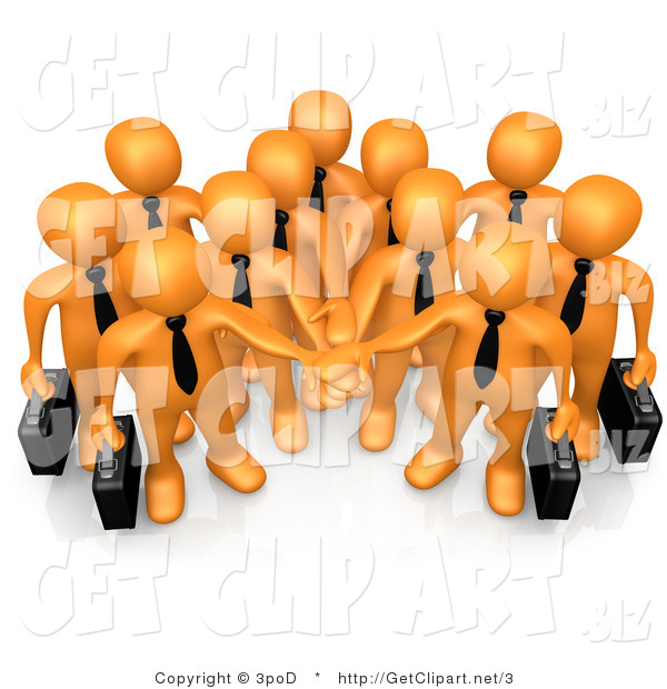 3d Clip Art of an Orange Business Team with Their Hands in