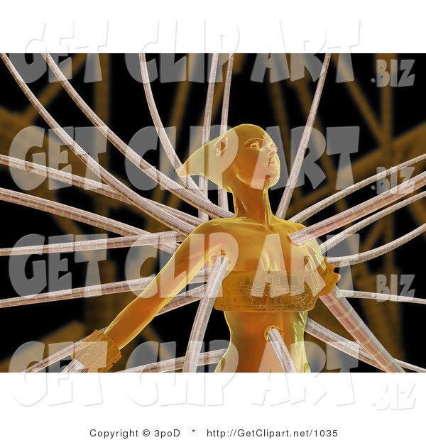 3d Clip Art of an Orange Futuristic Human Female Cyborg or Alien Connected to Cables
