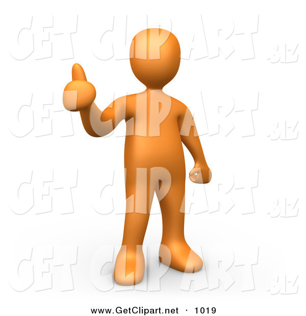 3d Clip Art of an Orange Man Giving the Thumbs up