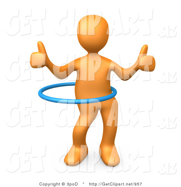 3d Clip Art of an Orange Man Giving Two Thumbs up While Swinging Their Hips with a Hula Hoop During a Competition