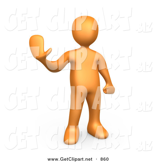 3d Clip Art of an Orange Man Holding Their Hand out and Gesturing to Stop