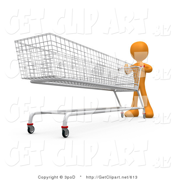 3d Clip Art of an Orange Man Pushing a Super Long Shopping Cart in a Store While Planning to Purchase a Lot