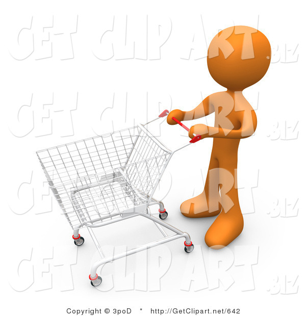 3d Clip Art of an Orange Man Standing with a Shopping Cart in a Store