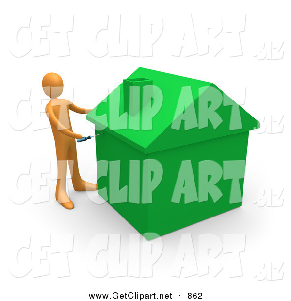 3d Clip Art of an Orange Man Using a Screwdriver to Finish off a Green Energy Efficient Home After Doing Eco Friendly Upgrades, Repairs, or New Construction on White