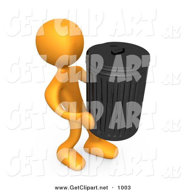 3d Clip Art of an Orange Person Carrying a Heavy Trash Can out to the Curb on Garbage Day