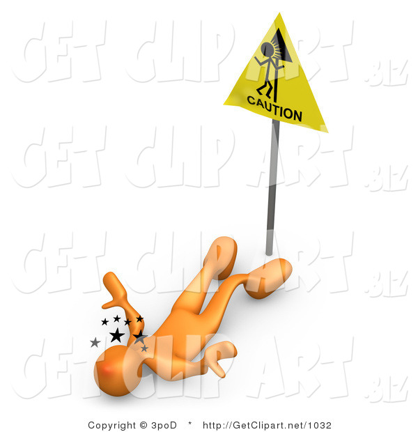 3d Clip Art of an Orange Person Seeing Stars and Lying on His Back After Slipping in Front of a Caution Sign