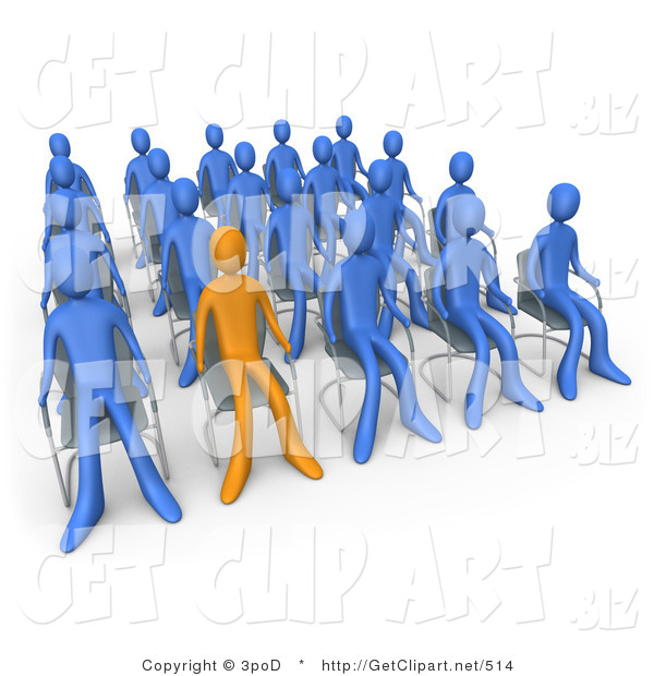 3d Clip Art of an Orange Person Standing out in a Crowd of Blue People Seated in Chairs During a Staff Meeting at Work
