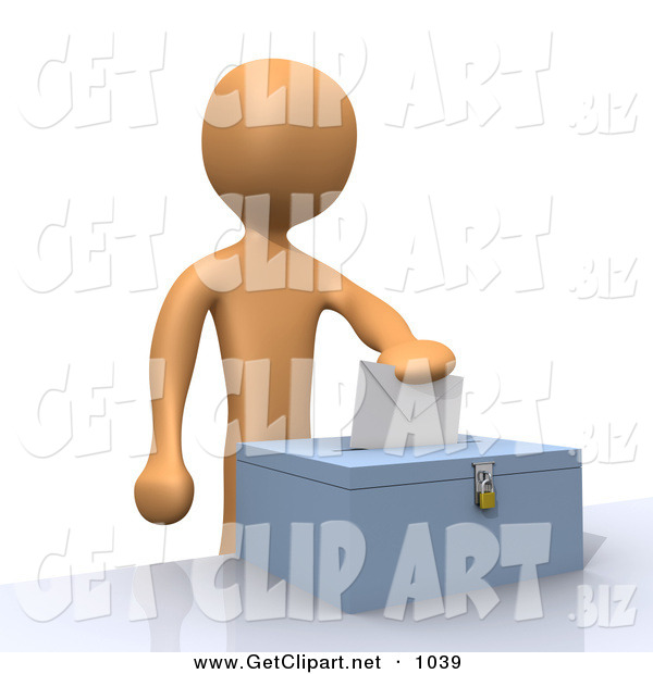 3d Clip Art of an Orange Voter Person Putting Their Voting Envelope in a Ballot Box During a Presidential Election Orange Voter Person Putting Their Voting Envelope in a Ballot Box During a Presidential Election