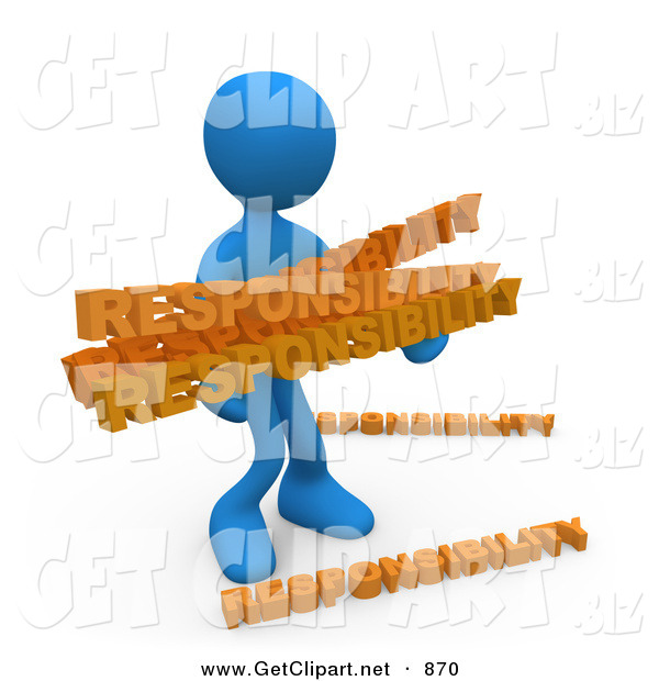 3d Clip Art of an Overwhelmed Dependable Blue Man Carrying a Heavy and Large Load of Responsiblities