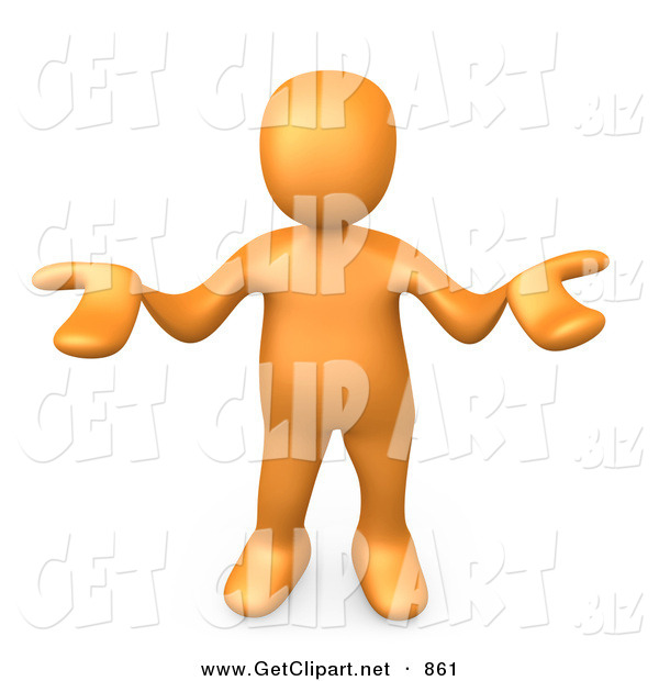 3d Clip Art of an Uncertain Orange Person Gesturing in Uncertainty and Asking What They Should Do to Solve a Problem