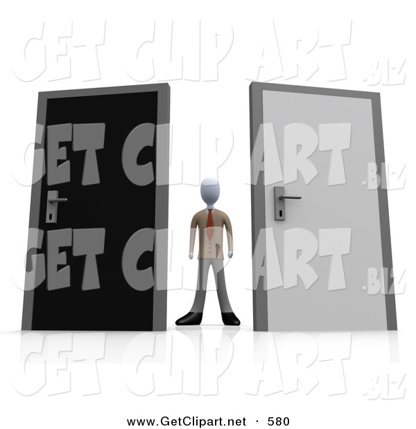 3d Clip Art of an Unsure Businessman Standing Between a Black and a Grey Door, Trying to Decide Which Career Path to Take