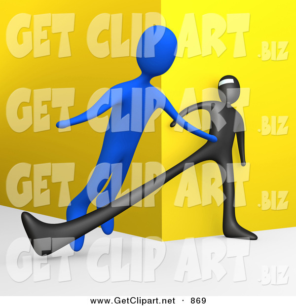 3d Clip Art of an Unsuspecting Blue Man Being Tripped by a Black Robber Man As He Turns a Corner