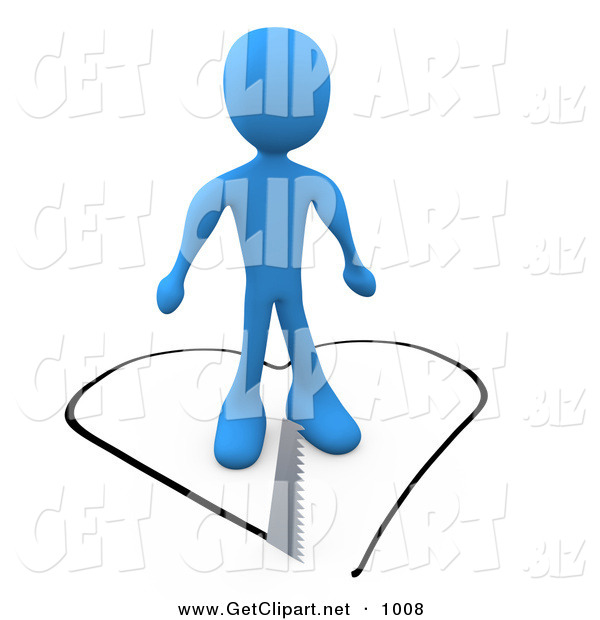 3d Clip Art of an Unsuspecting Blue Person About to Fall in Love As a Saw Cuts a Heart Shape out of the Floor Underneath Him