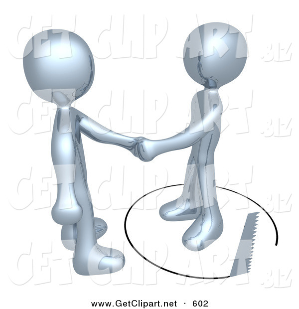 3d Clip Art of an Unsuspecting Chrome Man Shaking Hands on a Deal with Another Man As a Saw Cuts a Circle out from Under Him