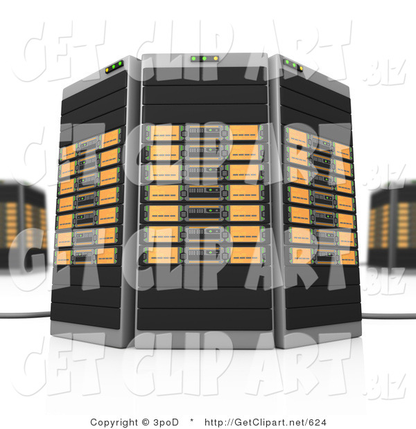3d Clip Art of Black and Orange Towers of Server Racks