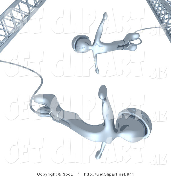 3d Clip Art of Chrome Bungee Jumpers in Helmets, Falling While Bungee Jumping from a Crane