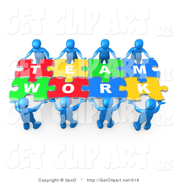 3d Clip Art of Eight Blue 3d People Working Together to Hold Colorful Pieces of a Jigsaw Puzzle That Spells out Team Work