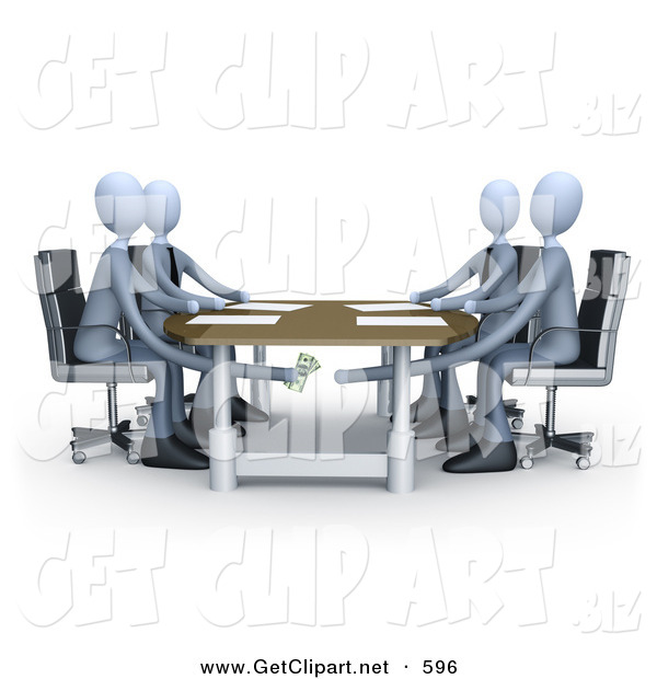 3d Clip Art of Four Businessman Paying or Bribing Another Under the Table During a Business Meeting