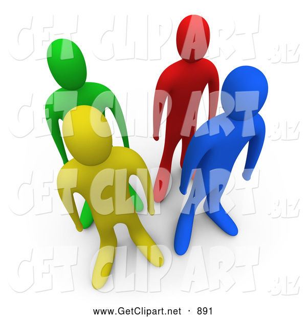 3d Clip Art of Four Different Colored and Ethnically Diverse People Standing in Lines Together