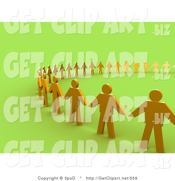 3d Clip Art of Golden People Standing Side by Side and Holding Hands While Forming a Large Circle on Green, Symbolizing Teamwork, Support, or Taking a Stand