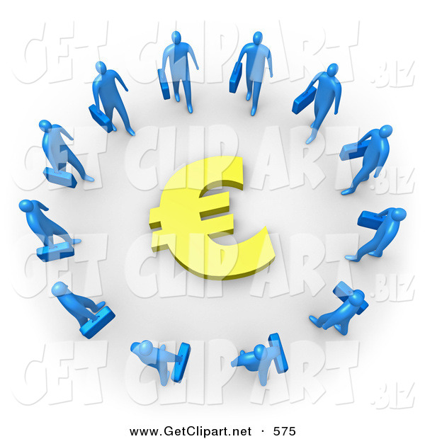3d Clip Art of Many Blue Businessmen Carrying Briefcases Standing in a Circle Around a Euro Sign