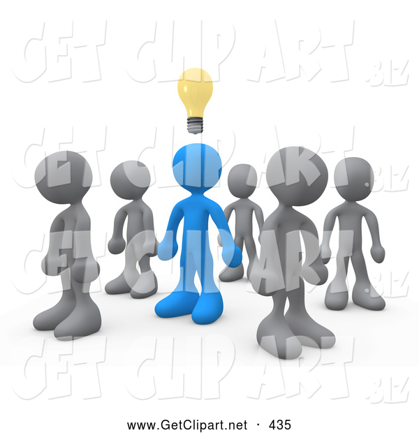 3d Clip Art of One Blue Person in a Group of Gray People, Thinking up a Creative Idea, with a Lightbulb over His Head, on White