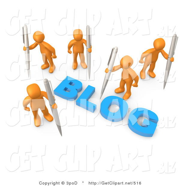 "3d Clip Art of Orange People Surrounding the Blue Word ""Blog"" and Holding Large Pens or Pencils"