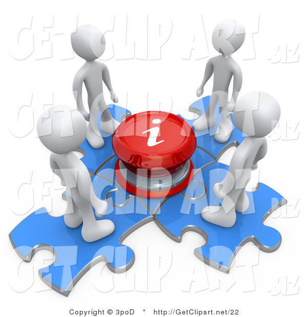 3d Clip Art of People Around an Info Button and Puzzle Pieces