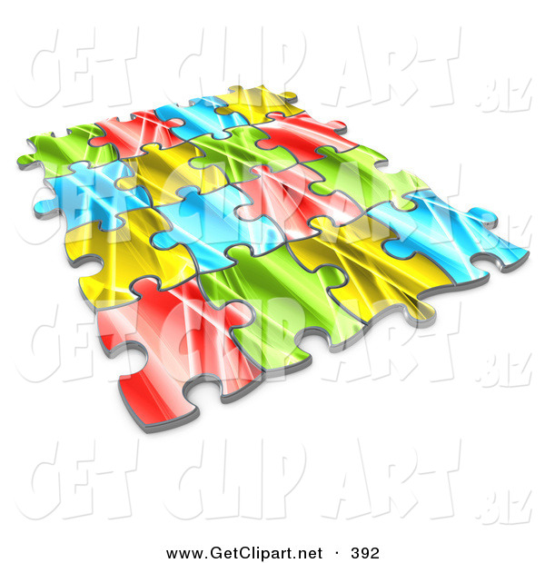 3d Clip Art of Pieces of a Colorful Jigsaw Puzzle Connected over a White Background, Symbolizing Interlinking for Seo Website Marketing, Teamwork and Diversity