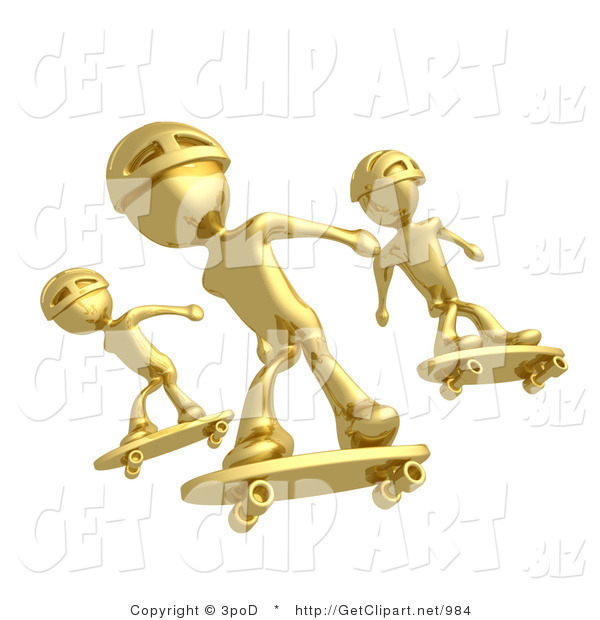 3d Clip Art of Three Golden Skateboarders in Helmets Catching Air All at the Same Time
