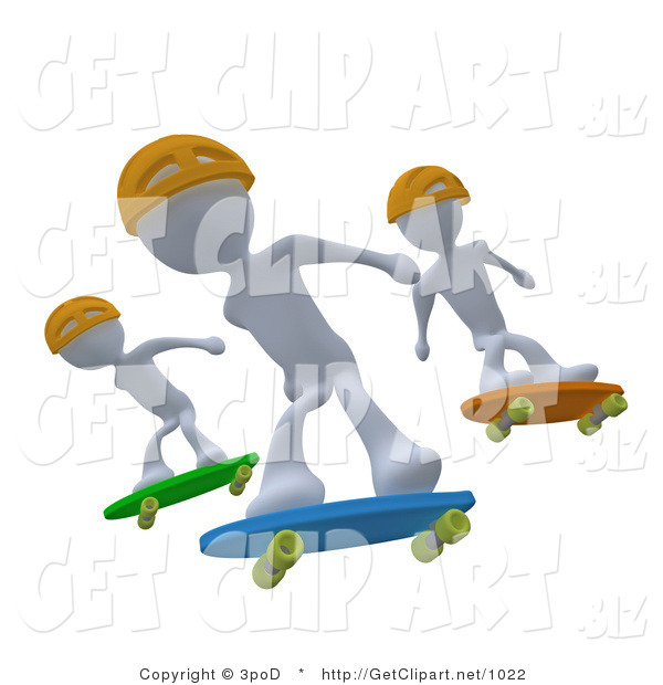 3d Clip Art of Three White Skateboarder Men in Yellow Helmets Catching Air All at the Same Time