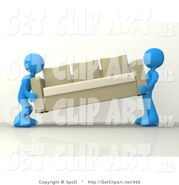 3d Clip Art of Two Blue Male Figures About to Place a Tan Couch While Moving into a New House