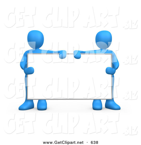 3d Clip Art of Two Blue Men Standing Behind and Holding up a Blank White Advertising Sign Between Them